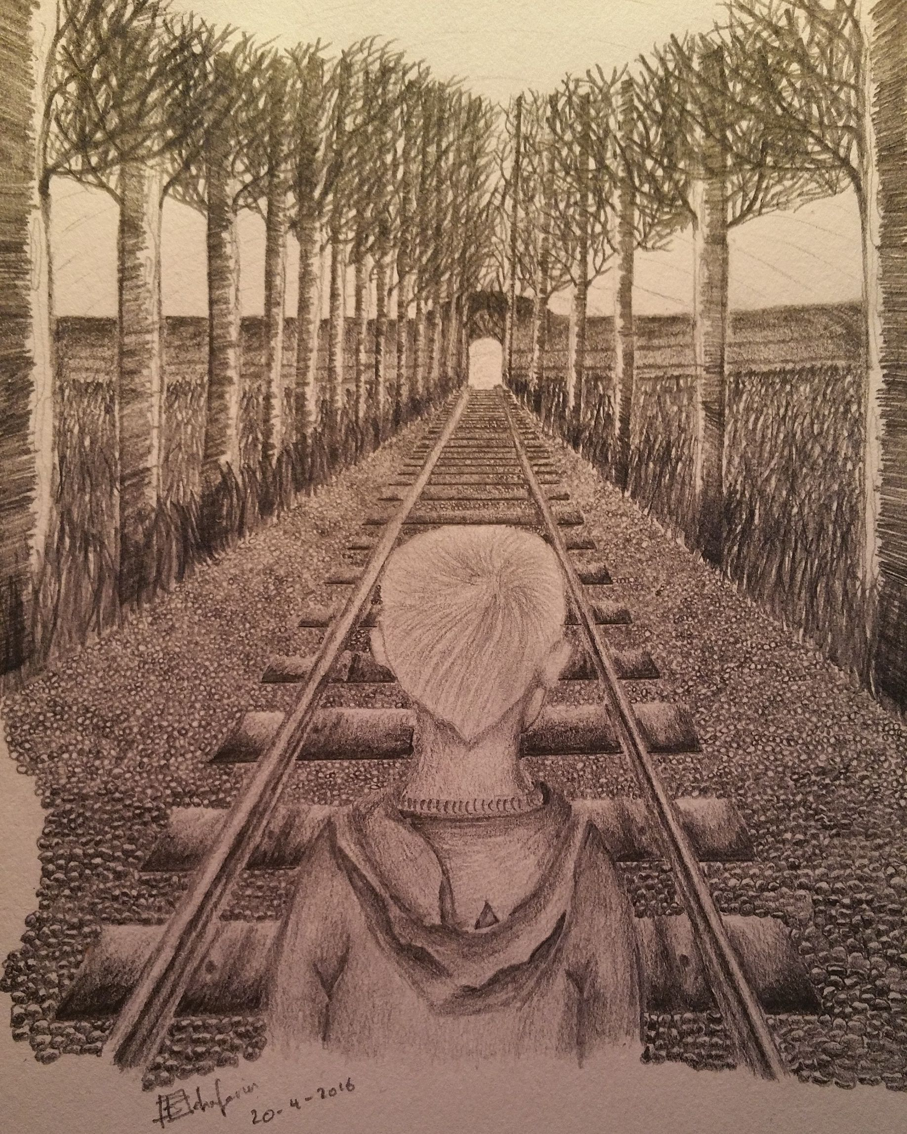 Theme orphans arts sketch pencil railway trees grass branches pennyappeal orphan competition artcompetition child shading interpretation