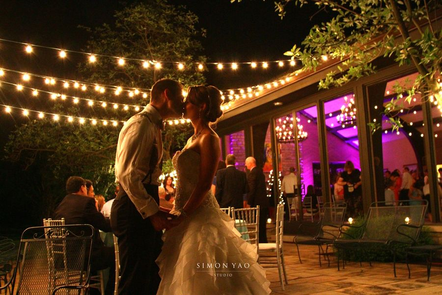 Kiss under the lights   simonyao.com   #weddingreception  #weddingportraits  #columbusweddings  Columbus Ohio Wedding Photographer