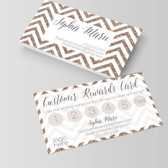 White And Gold Chevron Business Card Loyalty Card Rewards Card Stylist Hair Styli Nail Tech Business Cards Beauty Business Cards Hairstylist Business Cards