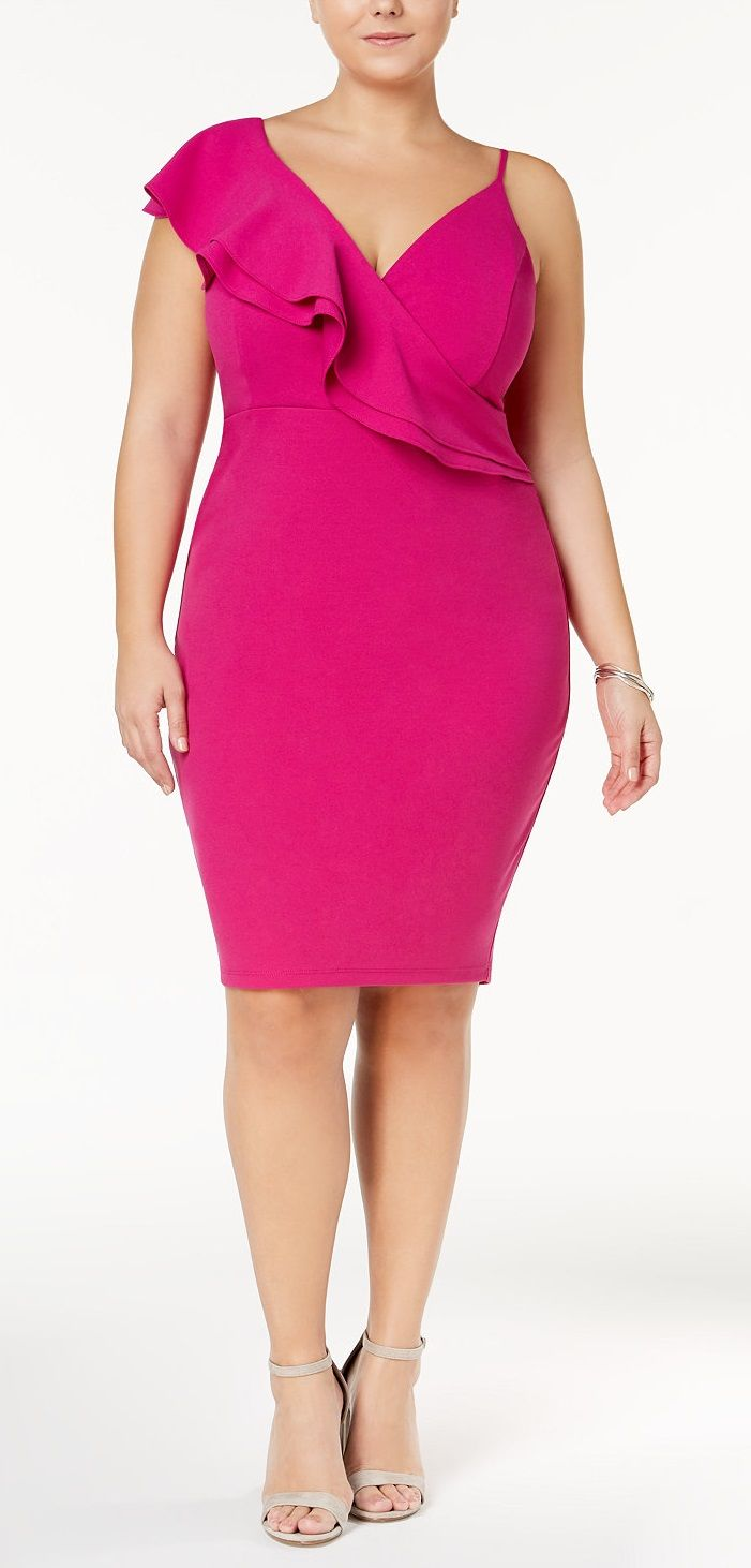 Plus Size Asymmetrical Bodycon Dress- Plus Size Party Dress ...