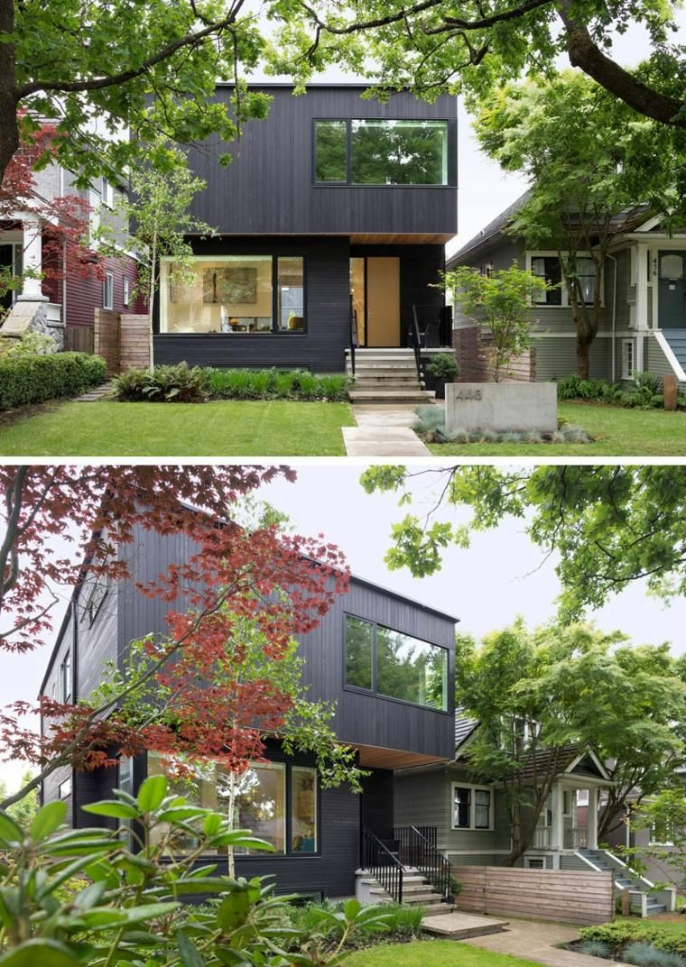 Front-design des hauses einzigen stock examples of modern houses with black facades  architecture