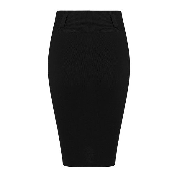 SheIn(sheinside) Black Slim Bodycon Knit Skirt (€10) ❤ liked on Polyvore featuring skirts, black, black knee length skirt, body con skirt, knit skirt, stretch knit skirt and formal skirts