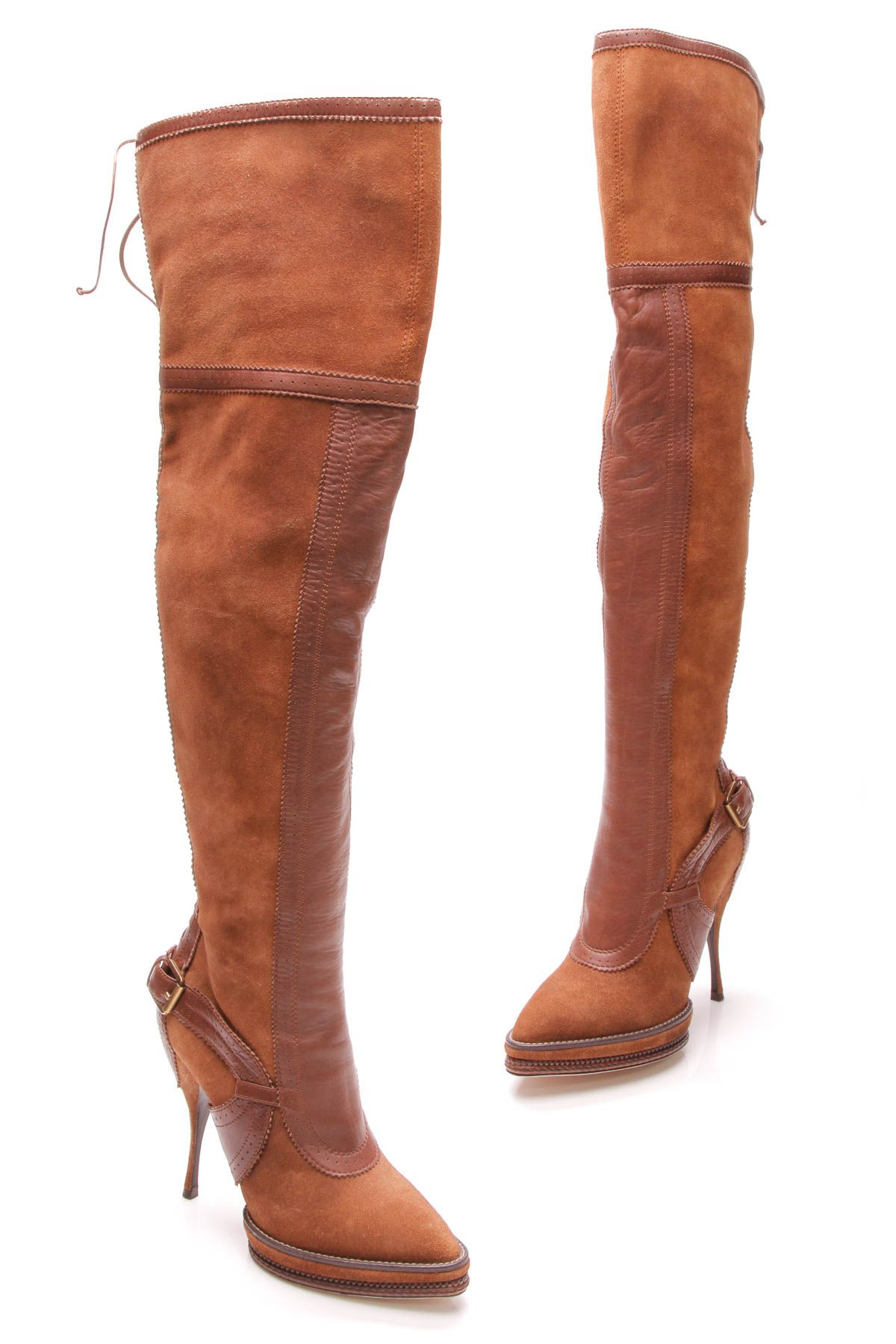 d1c336bbb00b Over The Knee Platform Boots - Brown Suede   Leather Size 40