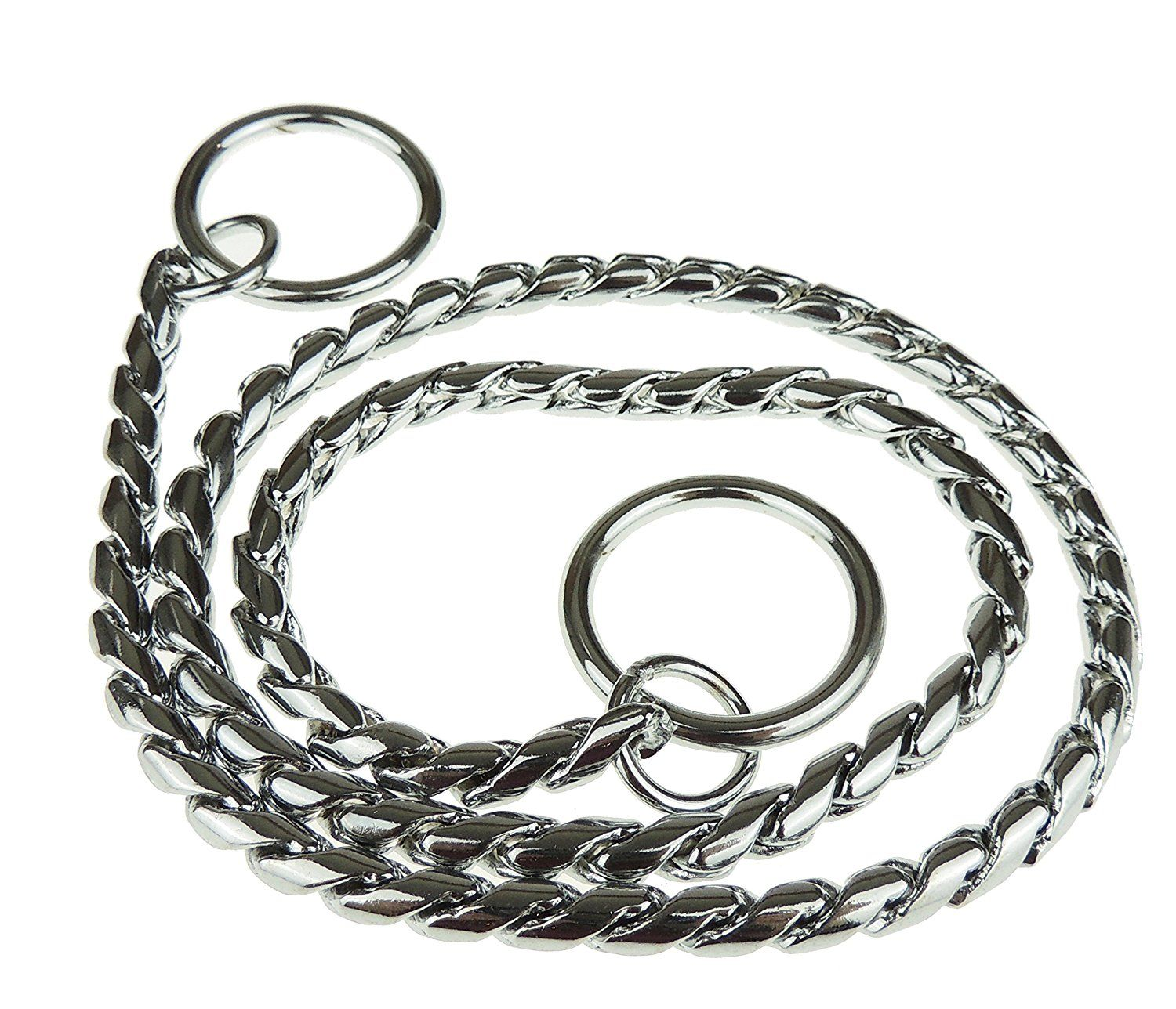 Dogs Metal Silver Tone Snake Choke Training Chain Collar