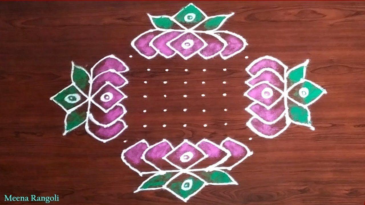 Beautiful Lotus Flowers Rangoli Design for Diwali Festival