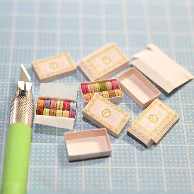 Macaron Boxes Fimo Barbie Miniature