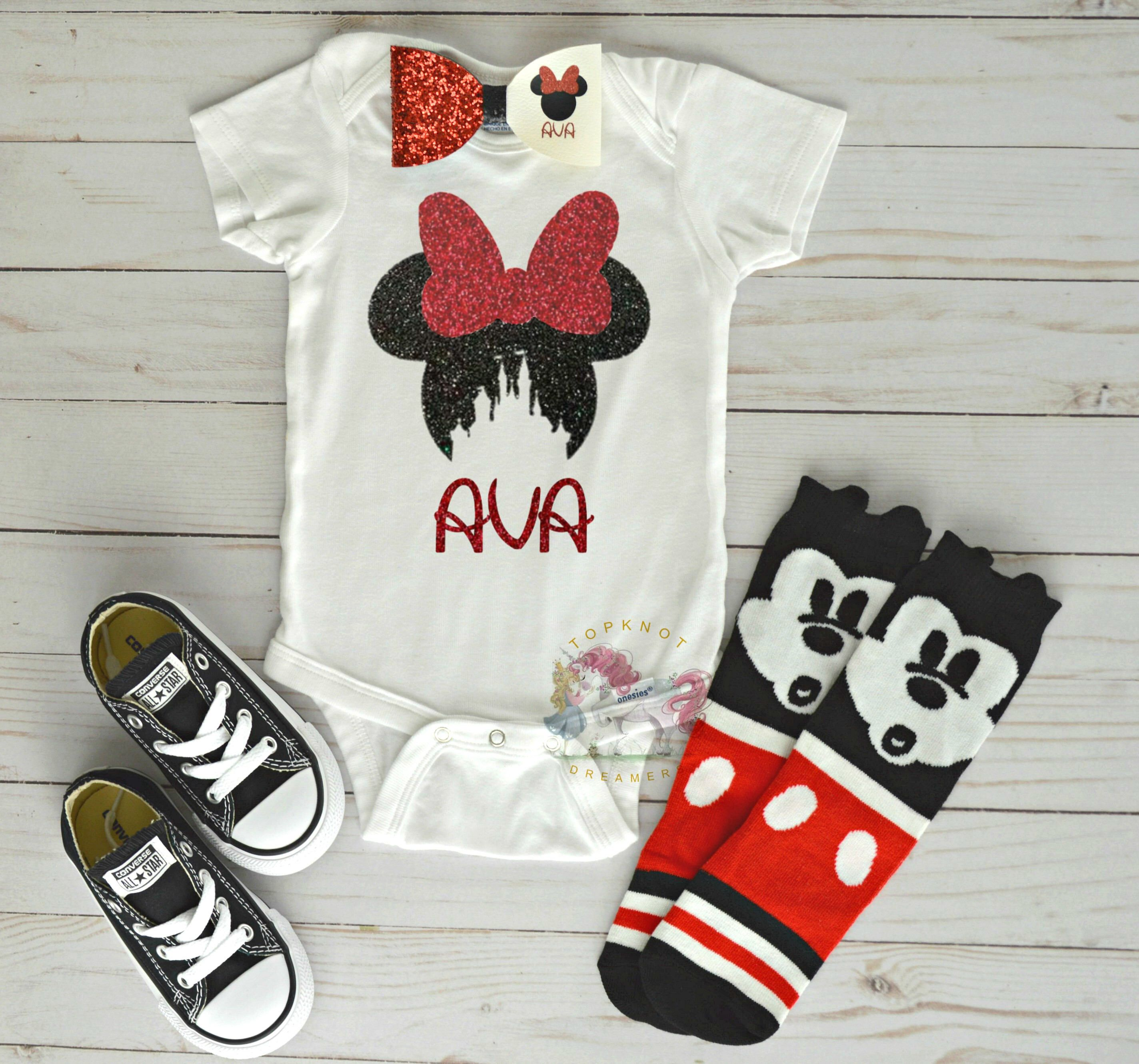 32cdf4442 Personalized Minnie Mouse Onesie, Minnie Mouse Shirt, Disney Onesie, Disney  Castle Onesie, Minnie Outfit, Mickey Socks, Disney Vacation