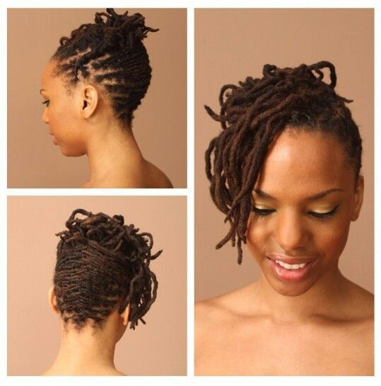 Half Loc Updo Back Up Front Down Medium Locs Locs Hairstyles Natural Hair Styles Medium Length Hair Styles