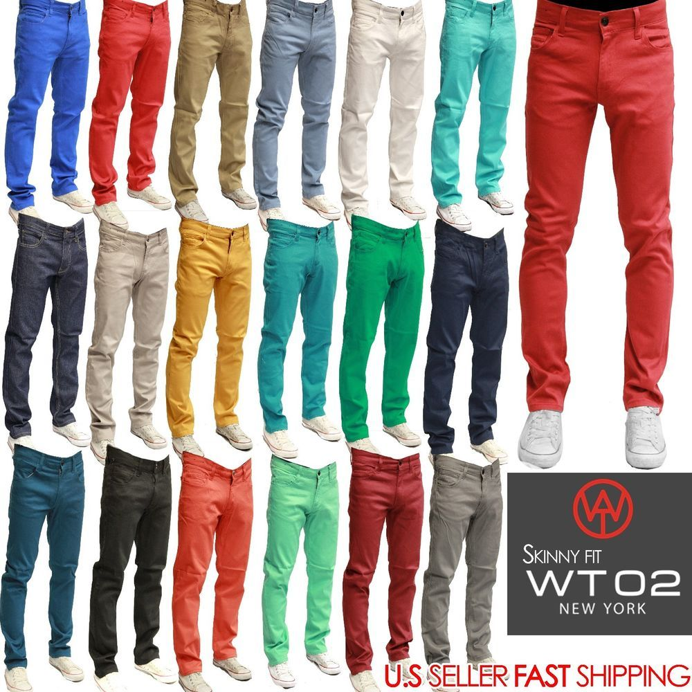WT02 Mens Jeans Slim Fit Straight Skinny Fit SLIM Trousers Casual ...
