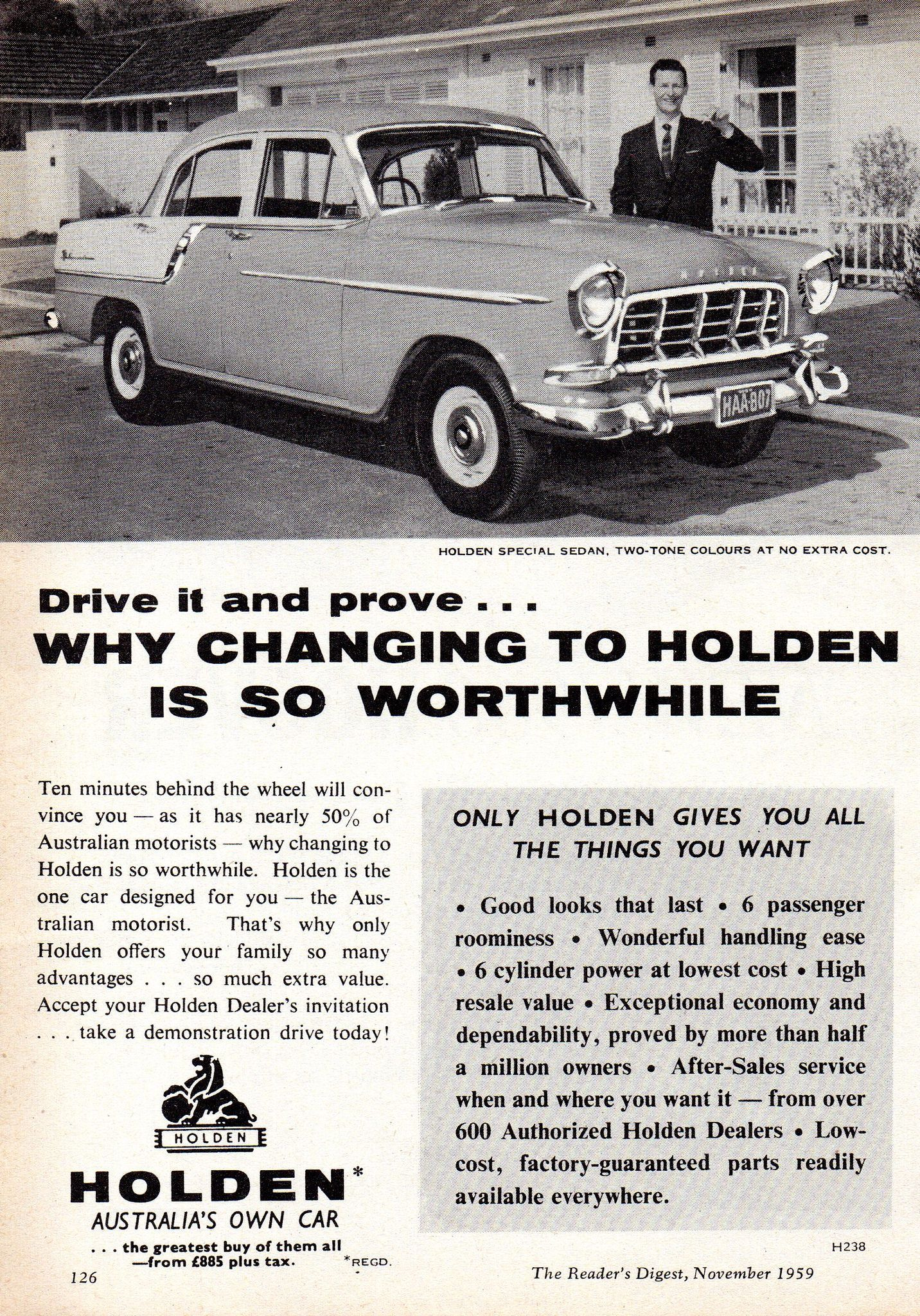 1959 FC Holden Special Sedan Aussie Original Magazine Advertisement
