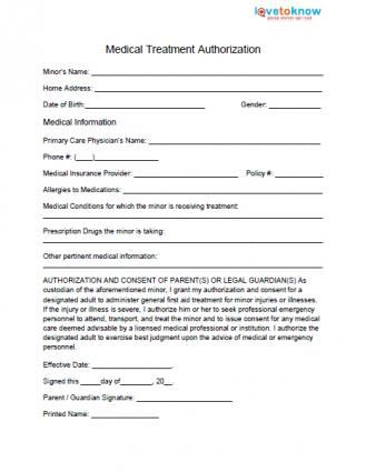Medical Release Form For Minor  Medical And Parents