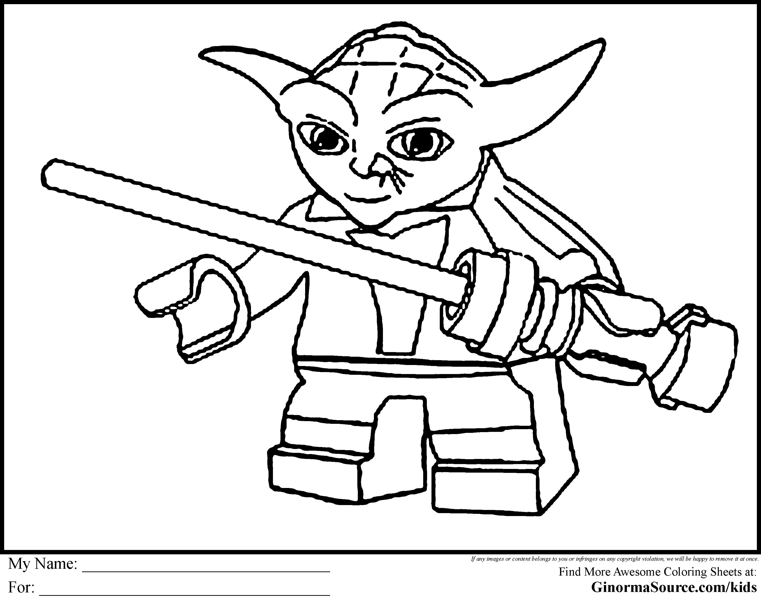 free lego star wars coloring pages lego coloring pages starwars yoda ginormasource kids - Yoda Coloring Pages