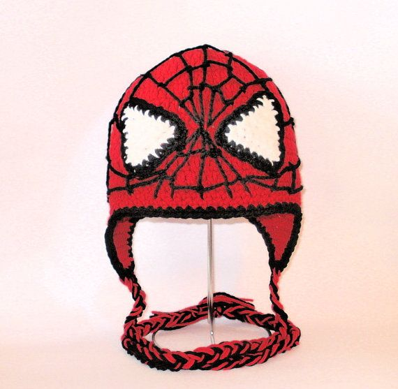 Crochet Pattern PDF Spiderman Hat. Beanie and Earflap. (All Sizes ...