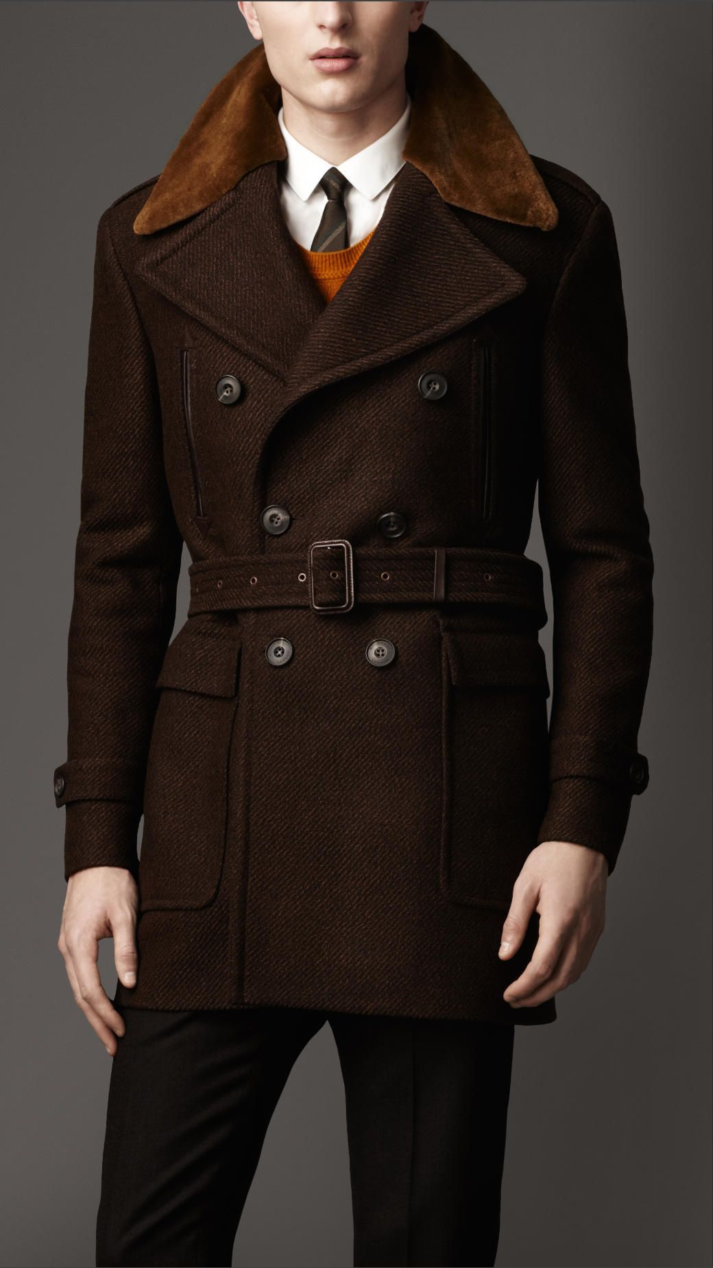Mens mink collar coat