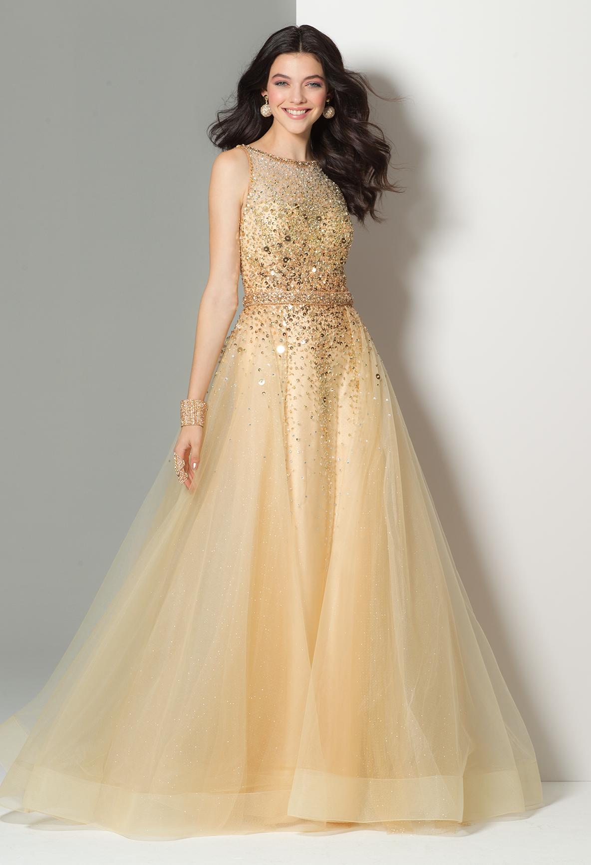Beaded glitter tulle ballgown