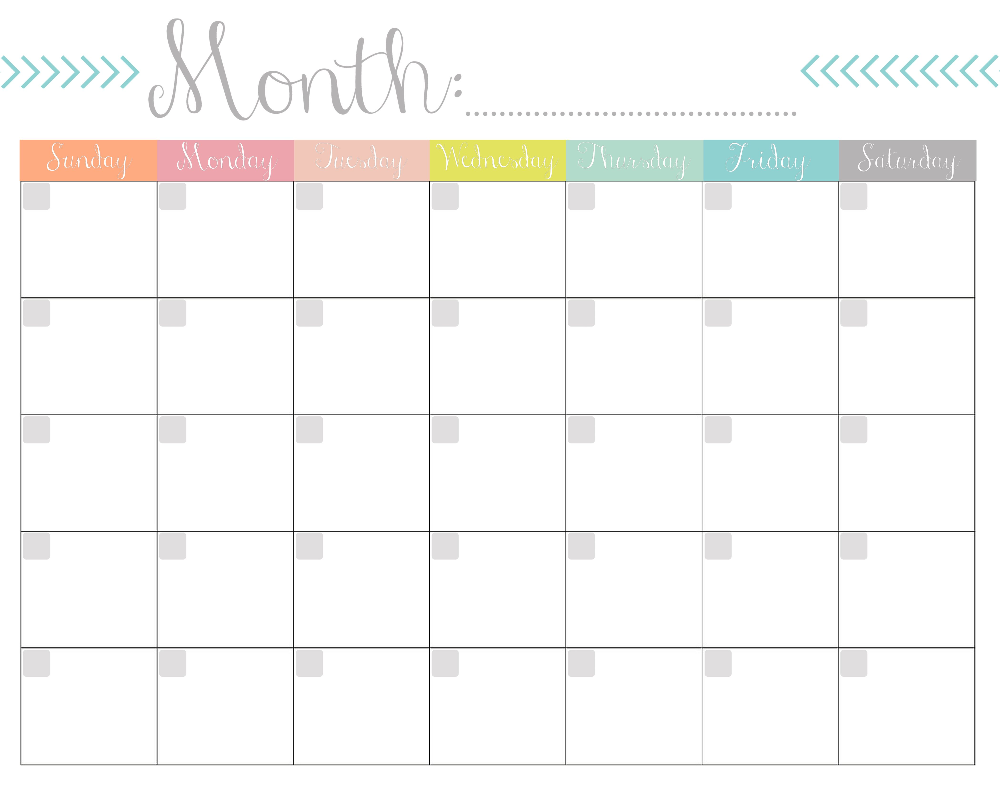 This is an image of Persnickety Printable Monthly Calendars Free