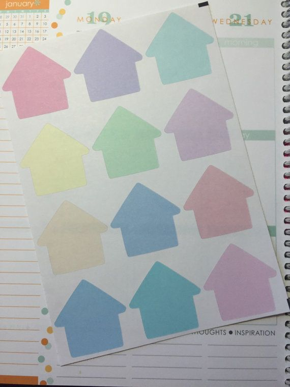 Large house stickers for Erin Condren Life by PlantasticPlanning