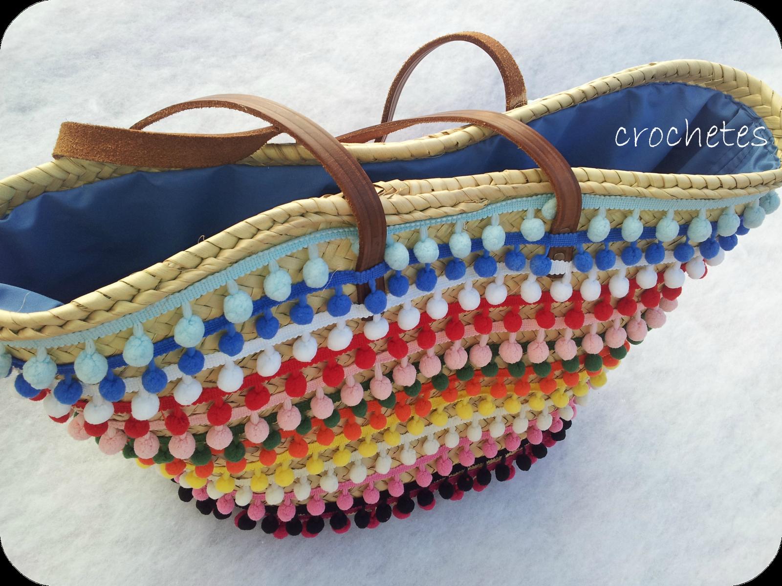Crochetes bolsos cestas decoradas miss g pinterest - Capazos de mimbre decorados ...