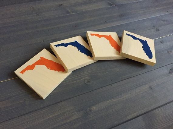 Pick Colors Florida Wood Coasters Set of 4 by RusticStrokes