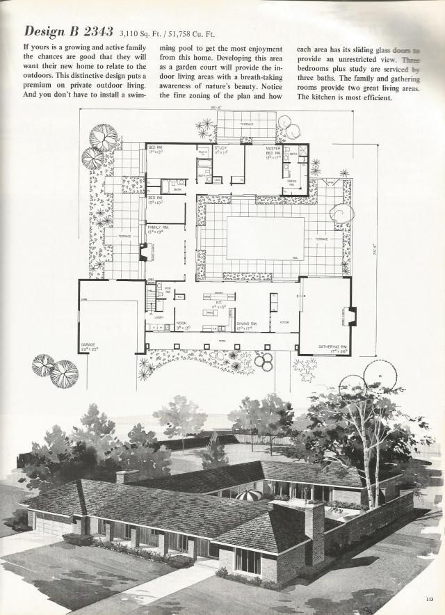 Vintage House Plans 2000 Square Feet Mid Century Homes House
