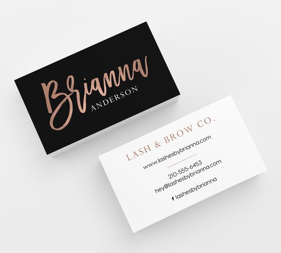 Black Rose Gold Faux Foil 500 Business Cards Printed Etsy In 2021 Salon Business Cards Esthetician Business Cards Rose Gold Business Card