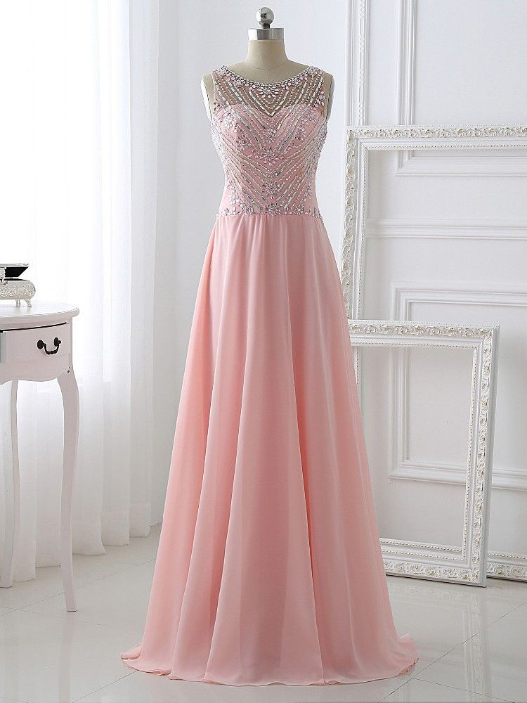A-Line Beading Long Charming Prom Dresses, Floor-Length Evening ...