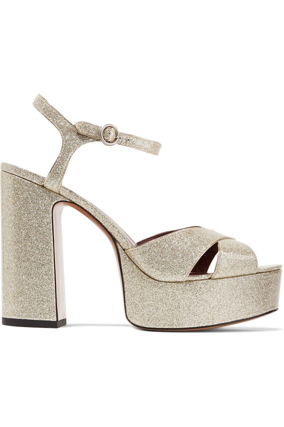 63100ba4178 MARC JACOBS Debbie Glittered Patent-Leather Platform Sandals.  marcjacobs   shoes  sandals