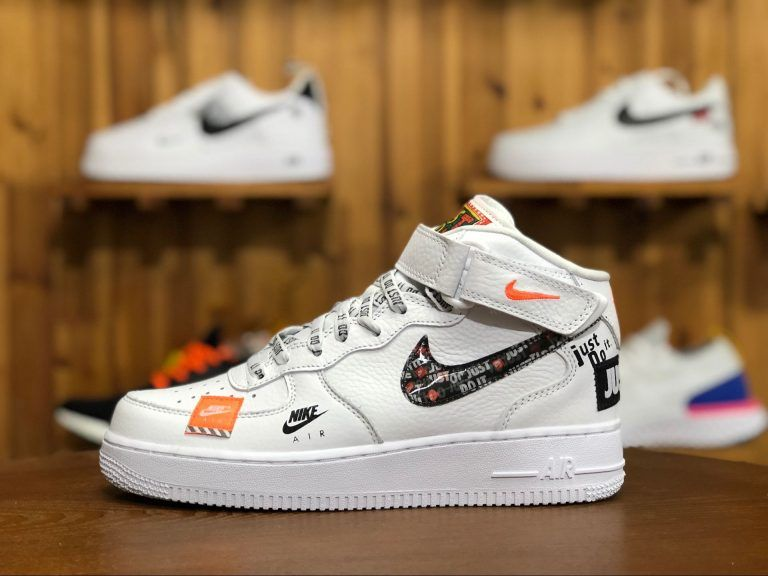 check out 717b1 fcff6 Nike Air Force 1 Mid Just Do It White Orange AQ8650-100