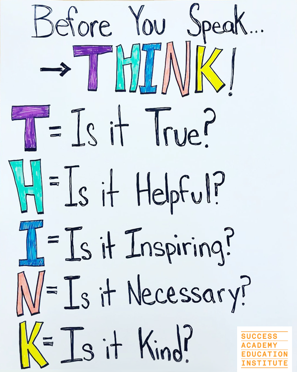 Think Anchor Chart Use This Colorful Chart From The Teachers Of Success Academy To Help Your Students Think Success Academy Education Resource Classroom