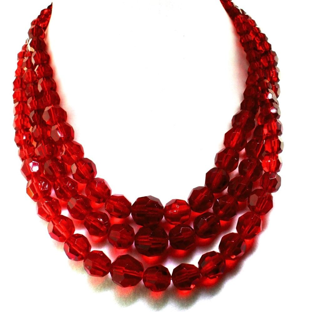 Red Ruby Beads: Vtg 1959 Christian Dior CD Germany Triple Strand Ruby Red