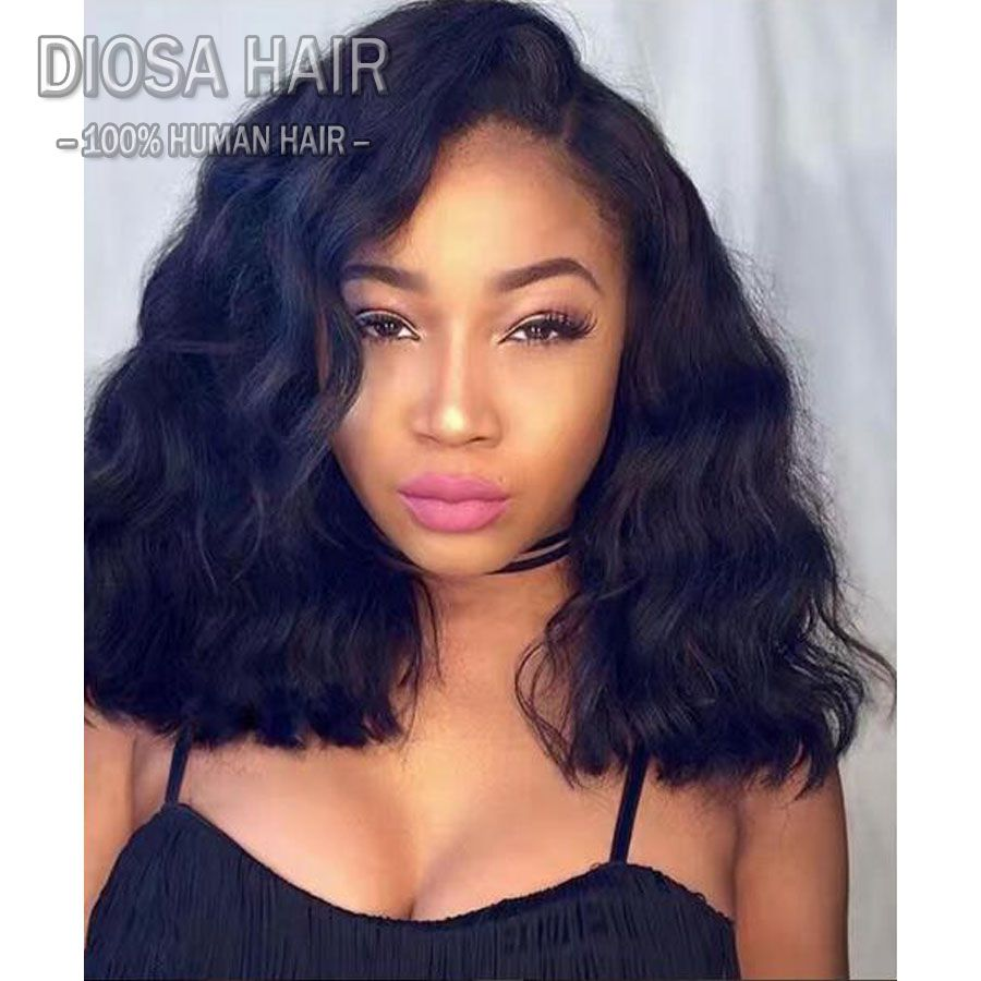 Full Lace Human Hair Wigs Wavy With Baby Hair 150 Density