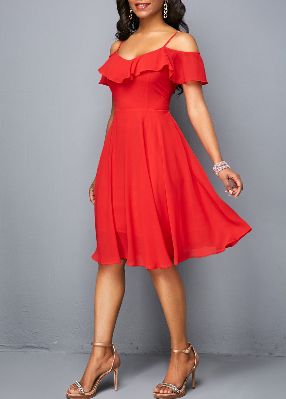 127b621dc3fb6 Red V Back Strappy Cold Shoulder Dress | Rosewe.com - USD $29.96 | I ...