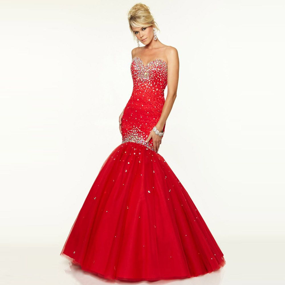 Click to buy ucuc red long formal style evening dress mermaid custom