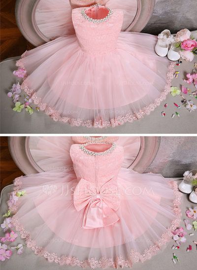 f9c4a01bf4978 Ball Gown Scoop Neck Knee-length Beading Bow(s) Tulle Lace Sleeveless  Flower Girl Dress Flower Girl Dress