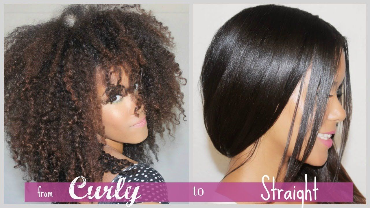 Curly To Straight How I Straighten My Natural Curly Hair Straightening Natural Hair Curly To Straight Hair Natural Hair Styles