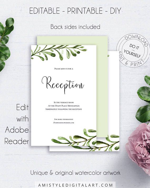Greenery wedding reception card invitations printable watercolor this pretty wedding reception insert card template is an instant download editable pdf pack so you can download it right away diy solutioingenieria Images