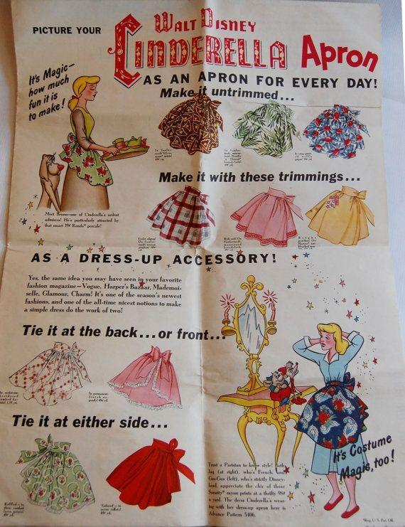 Vintage 1950 Walt Disney Cinderella Apron   фартук   Pinterest ...