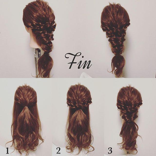 Mayahairno5 のスタイル写真の作り方です アレンジスタイルの作り方 はち下3センチ辺りまでの髪を一つに結ぶ 耳下辺りまでの髪を左右それぞれロープ編みして のゴムを隠すように巻いてゴムの裏の方で結ぶ 残ってる全部の髪をクルリンパする Fin ヘア
