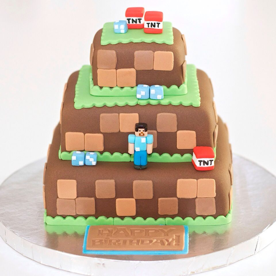Minecraft birthday cake! For recipes, ideas & more, Follow me @sosweetbites on Instagram.