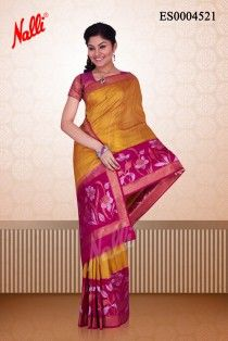 9eb8226306f5f9 Mustard Banaras Jute Silk Saree
