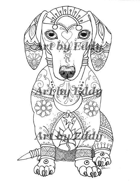 Art of Dachshund Single Coloring Page | Pintasalchichas | Pinterest