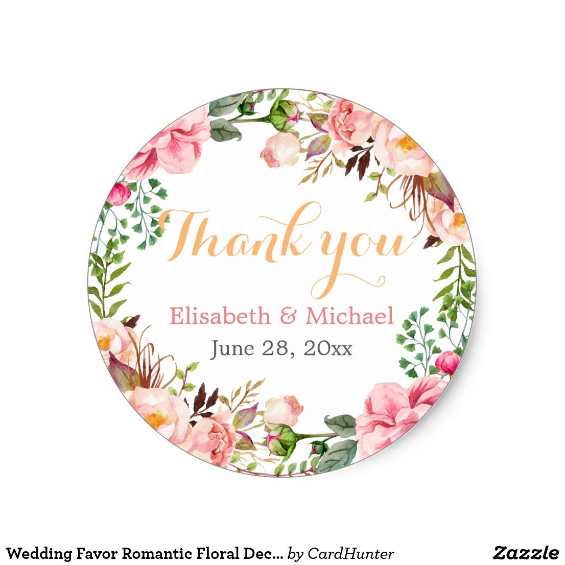 Wedding favor romantic floral decor thank you classic round sticker about this design modern pink floral wrapping