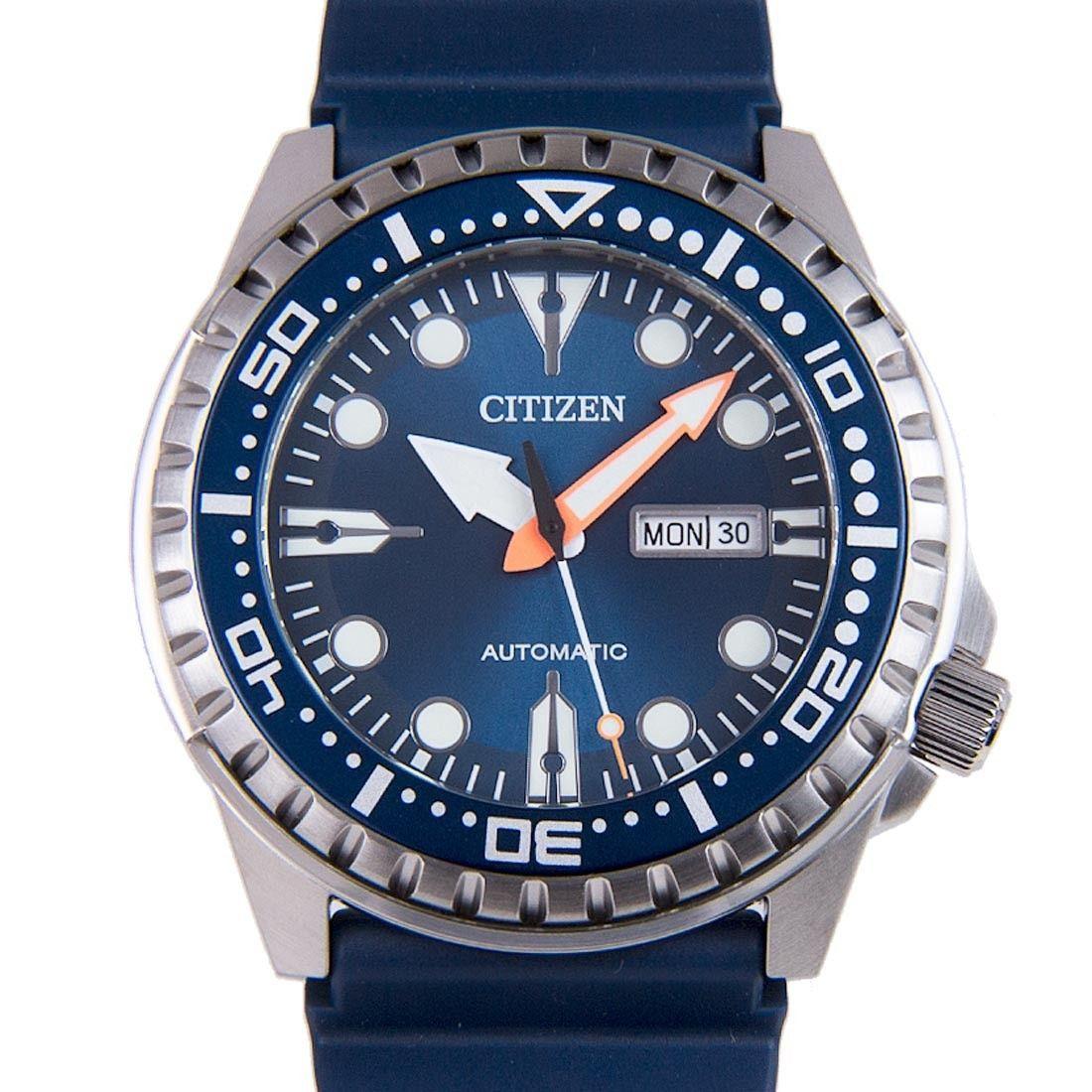Citizen Automatic Blue Rubber Bracelet Day Date Male