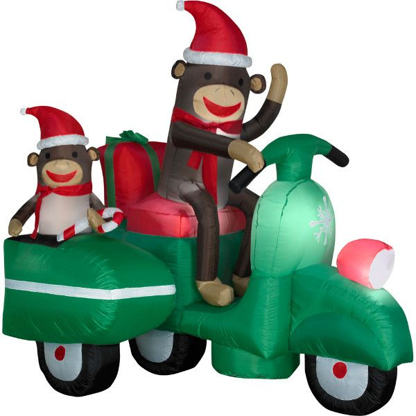 Christmas Decor: Inflatable Sock Monkeys In Scooter
