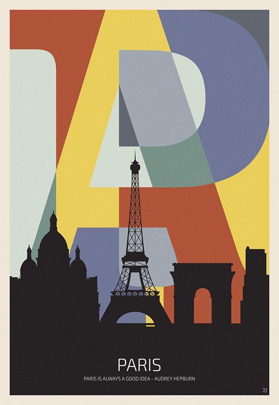 BLUE EIFFEL TOWER SILHOUETTE PARIS ART PRINT Poster Bright Colour Decor Picture