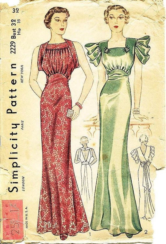 30s evening dress pattern 8328