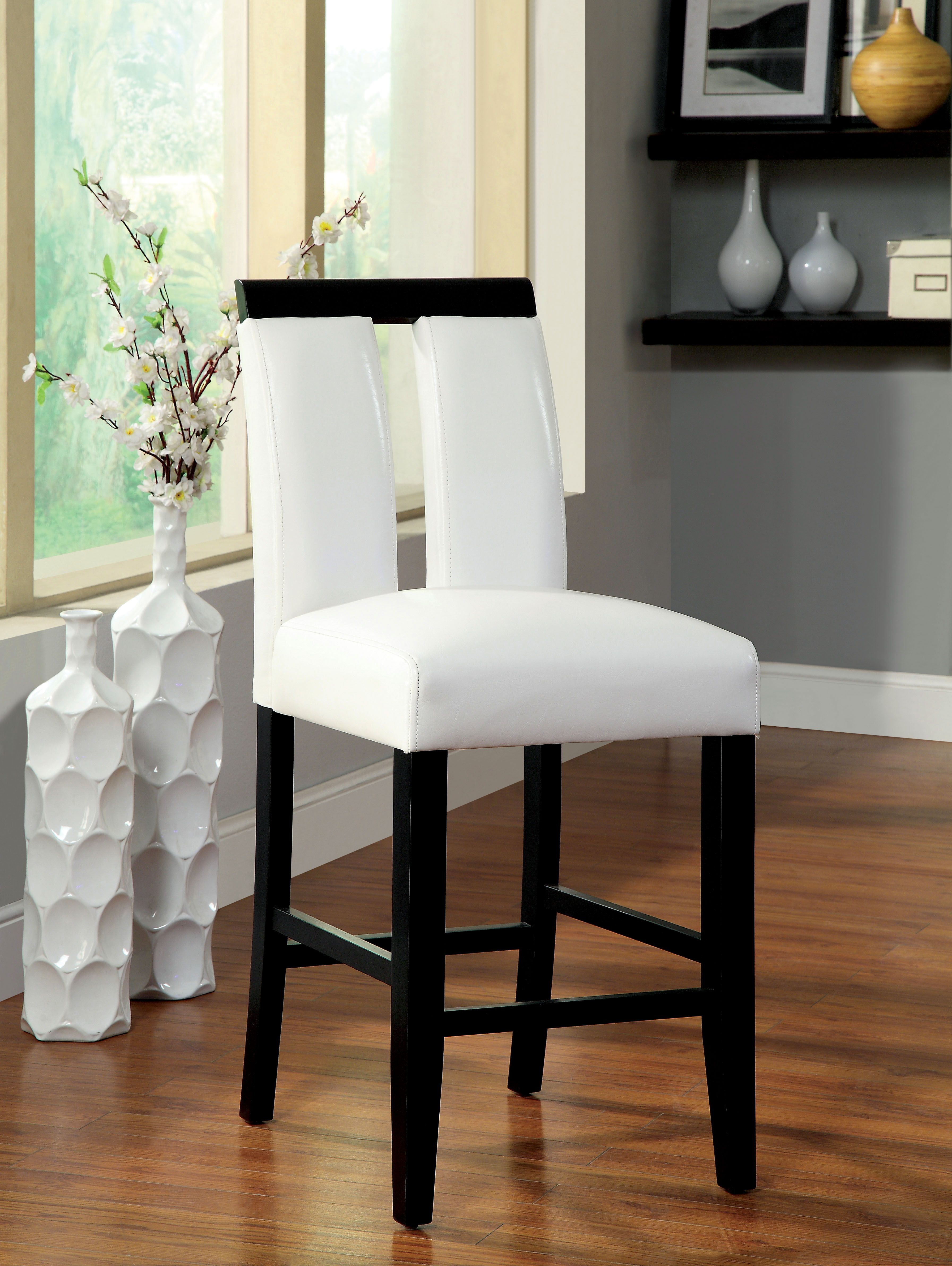 Furniture of America White Larkions Upholstered Counter Height ...