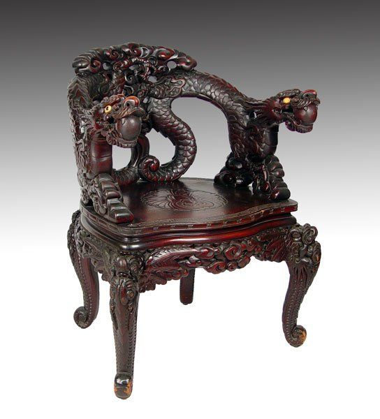 Japanese Carved Wood Corner Chair. Dragon Motif. Circa 1920 | Carved wood,  Corner and Dragons - Japanese Carved Wood Corner Chair. Dragon Motif. Circa 1920