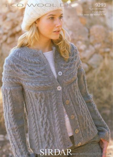 Sirdar Sirdar Knitting Pattern 9293 Cable Yoke Cardigan Dk