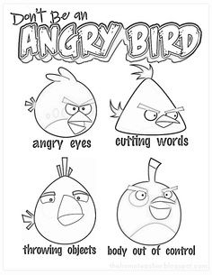 Anger Management Coloring Pages | Don\'t be an Angry Bird anger ...